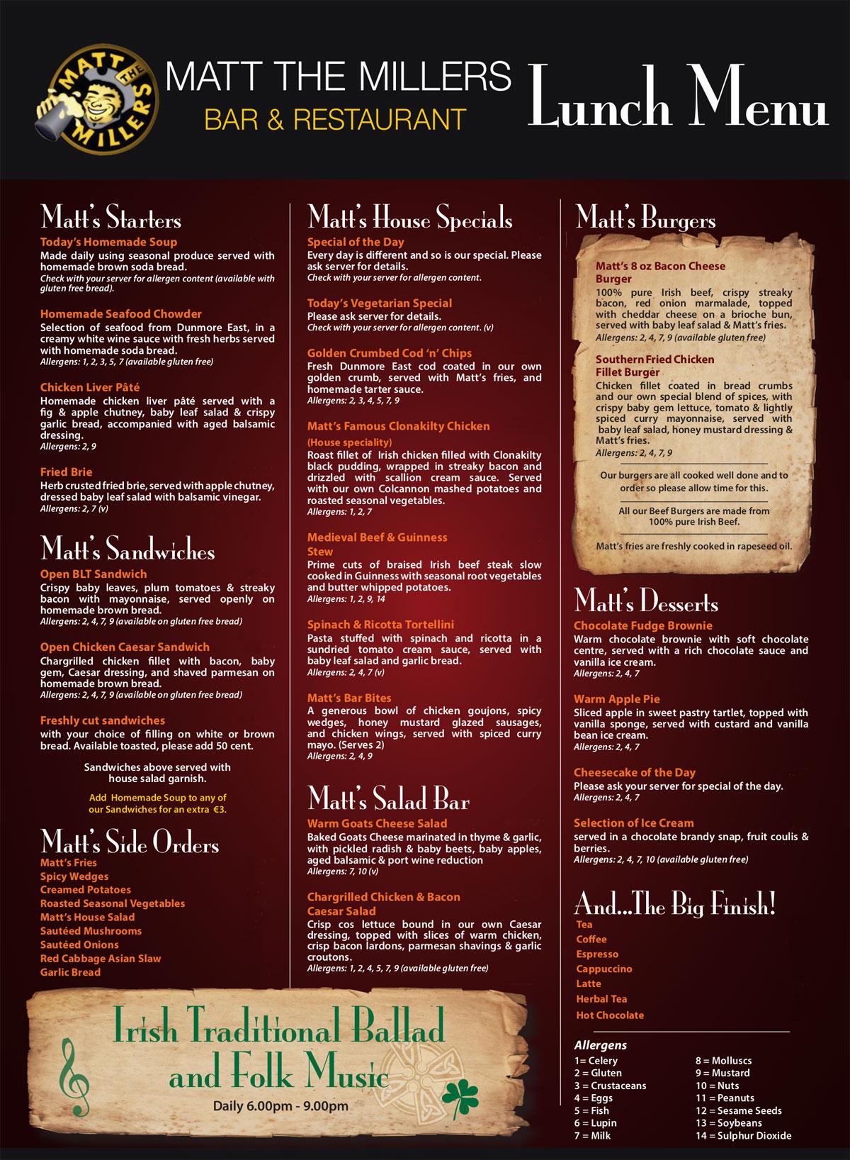 Matt The Millers Bar Restaurant Kilkenny Restaurants In